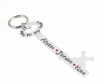Personalized Key Chain for Mom, Dad, Grandma, Grandpa, Custom Key Chain, Key to my Heart Father's Day Key Chain,  Hand Stamped Keychain