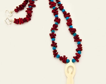 Red Coral Nugget Antler Spiritual Goddess Necklace Gypsy Magic