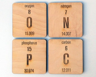 2 pc. Laser Cut Wood Periodic Table Elements Coasters