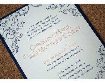 Flowers and Flourish Wedding Invite