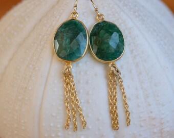Emerald Gold  Earrings. Green Brazilian Emerald Earrings.  Gold Filled Tassel Chains Earrings. May Birthstone. Fine Jewelry.