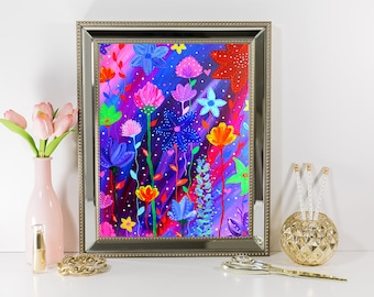 Floral Paradise | Acrylic Painting | Artwork Print | Flower Painting | Art and Design | Gift | Gift for Her | Home and Decor