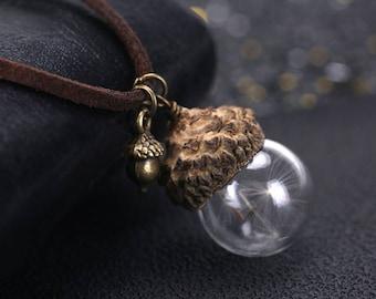 Dandelion Seed Necklace, Acorn Necklace, Handmade Jewelry, Wish Necklace, Handmade Jewelery