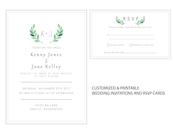 Simple Greenery Wedding Invitation | Personalized and Printable | Summer Wedding