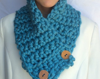 Scarf Blue Chunky Scarf neck warmer with Large Buttons Ocean Teal Blue Scarf Winter Accessories