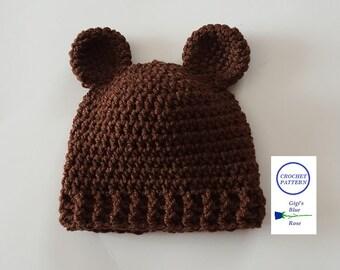CROCHET PATTERN/Crochet Baby Bear Beanie Pattern/PDF Pattern