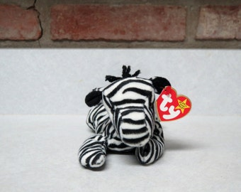 TY Beanie Baby Ziggy the Zebra Vintage Plush Toy DOB 1995  New With Tags Stuffed Toy