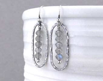 Labradorite Earrings Gray Stone Earrings Small Bead Earrings Dainty Silver Drop Earrings Gift for Women Gemstone Jewelry - Simple Lines