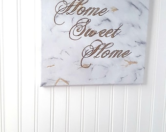 Home Sweet Home, Housewarming Gift, Canvas Quote Wall Art, Living Room Decor, Modern Design, Hand Painted Wedding Gift