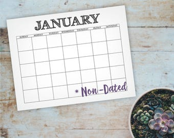 Blank Printable Wall Calendar - Non-Dated Rustic Font Calendar - Letter & A4 12 Month Wall Calendar - Instant Download Calendar