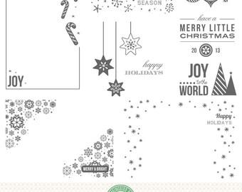 Editable Holiday, Christmas, Seasonal Photo Overlays, Word Art - P5
