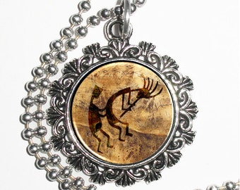 Primitive Man and His Flute Art Pendant, Cave Drawing Resin Photo Charm Necklace