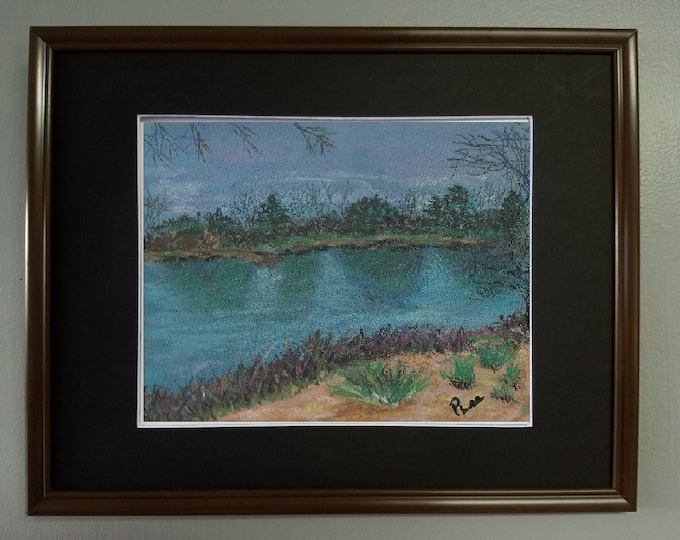 "8x10 Original Pastel Signed Painting, Landscape and Reflected Water Art, ""Piedmont Park in Georgia"""
