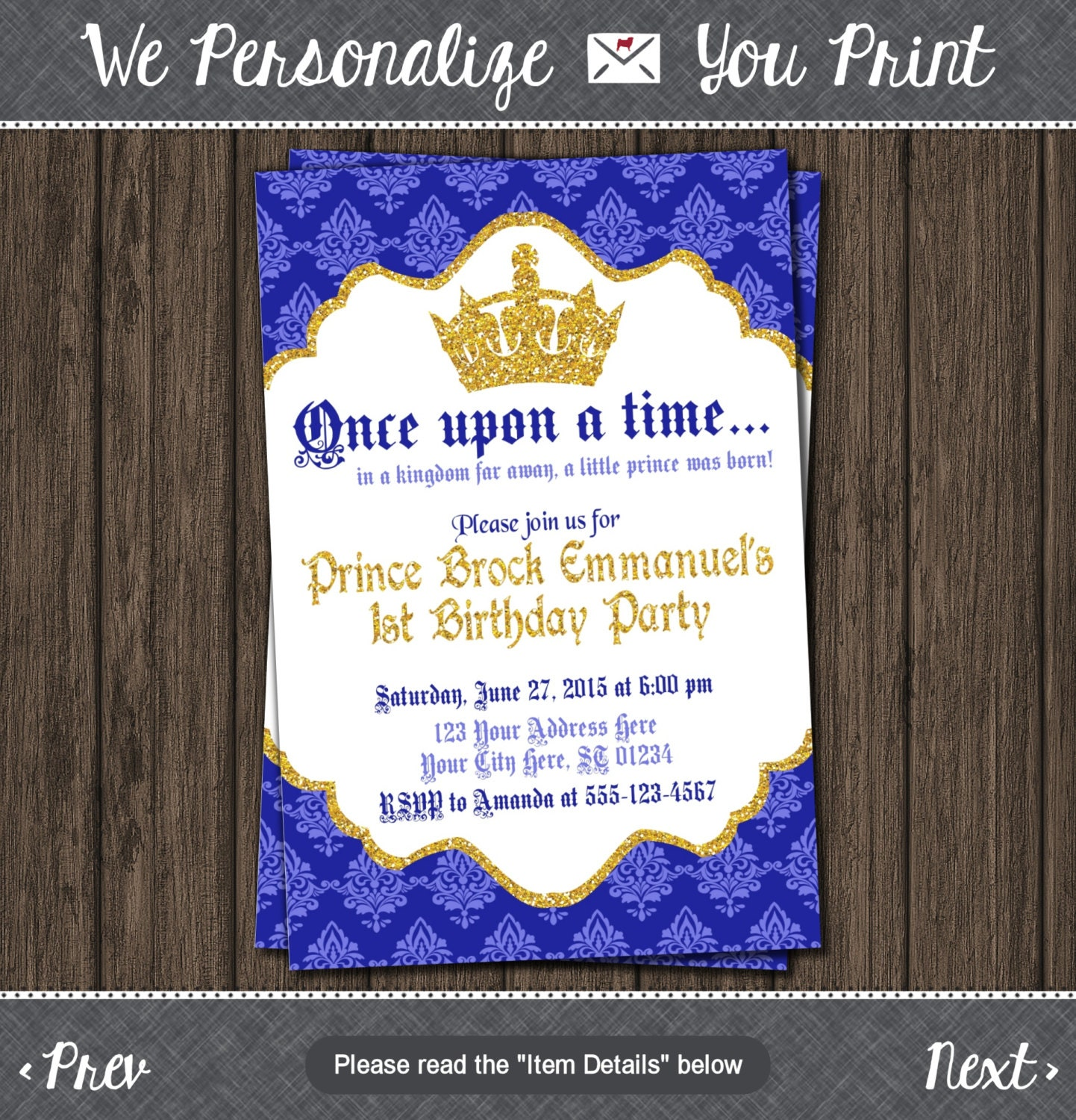Prince Birthday Invitation First Birthday Invitations