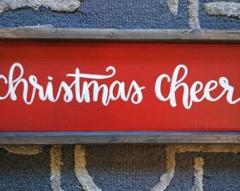Christmas decor, rustic wood sign, Christmas cheer, christmas centerpiece, farmhouse style