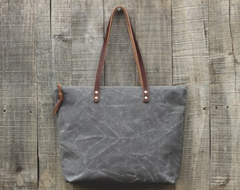 The Everyday Tote in STORM  //  Waxed Canvas Tote Bag  //  Large Zipper Tote  //  Leather Straps