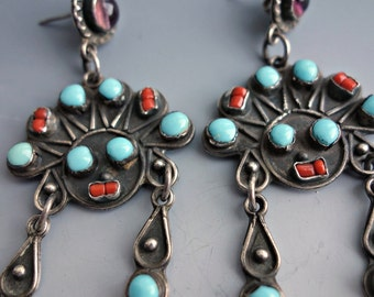 Turquoise Coral Sterling Figural Earrings Mexico