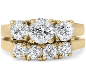 Diamond 3.00CT Three Stone Ring Set 14K Yellow Gold