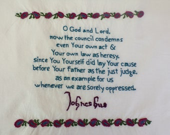 Christian Quote Embroidery, Signature Embroidery, Historical Embroidery