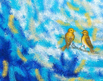 Goldfinch on Blue Print