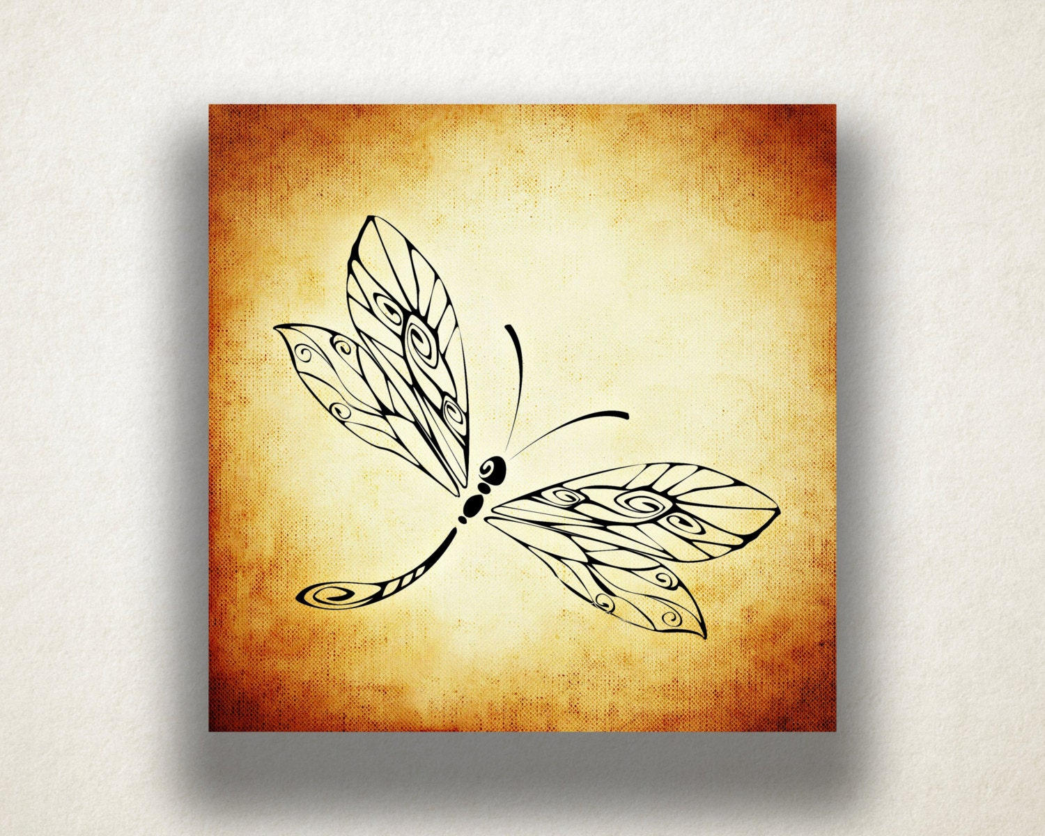 Dragonfly Canvas Art Print Dragonfly Wall Art Insect Canvas