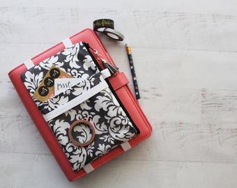 Gray damask planner cover pouch - great teachers gift! - damask planner - journal bag - damask bag - monthly planner - pencil case - pen bag