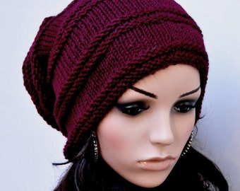 Hand knit woman hat slouchy Wool Hat wine burgundy hat-ready to ship