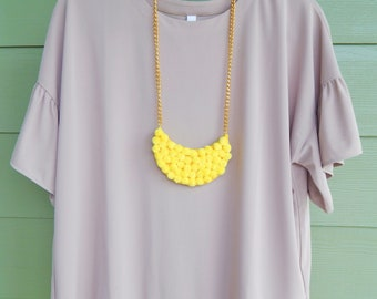 Yellow statement necklace, Chunky necklace, Statement Necklace, Yellow necklace, Pom pom necklace, Pendant necklace, Gift for her