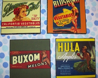 pin up girl coasters retro vintage Fifties fruit crate label rockabilly hula girl cowgirl kitsch