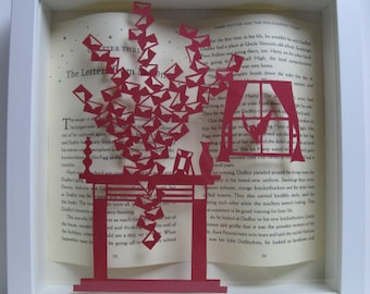 Letters to No One - Harry Potter  framed art - paper cutting - Harry Potter gift - book lovers gift