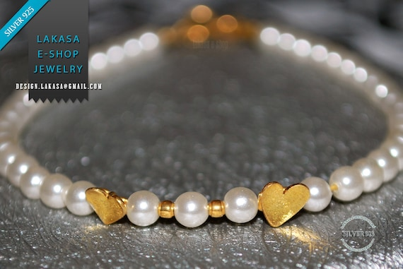 Hearts Pearls Bracelet Sterling Silver 925 Goldplated Handmade Jewelry Best Gift Idea for her Girlfriend Birthday Friendship Valentine Love