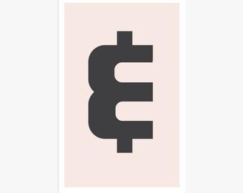 Rétro moderne argent signe impression d'Art | Décoration rétro | Art mural rose & noir | Impression de Poster typographique Dollar | Art moderne minimaliste