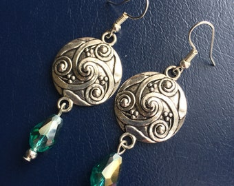 Celtic sheild and crystal drop earrings