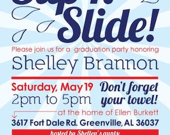 Slip n Slide Party Invitation - 5x7 - Digital File - You Print