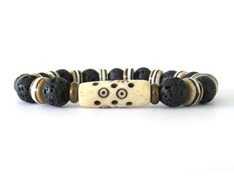 Black Lava Rock and Bone Men's Bead Bracelet - Rugged Men's Jewelry - Bracelets for Men - Stretch Bracelet - Men's Fashion - M0805