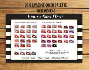 LipSense Color Chart - 50 LipSense Colors - Lipsense Color Palette - LipSense 2018- Color Chart 11x17 inches - You Print