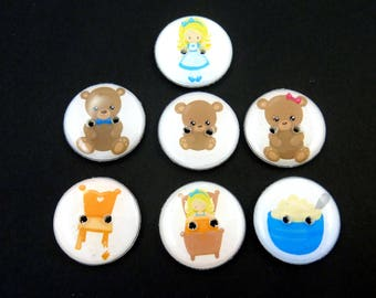 """7 Goldilocks and Three Bears  Buttons.  3/4"""" or 20 mm Round  Washer and Dryer Safe."""