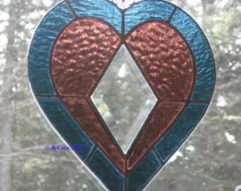 Stained Glass Bevel Heart Suncatcher Love is Forever
