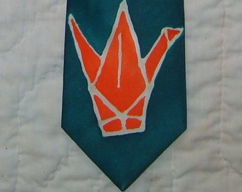 Origami Crane Silk Tie