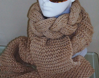 SALE! PLAITED SCARF Knitting Pattern