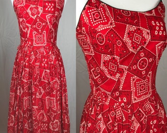 Vintage 1950's Red Bandana Print Sundress