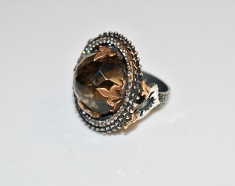 Smoky Quartz and Sterling Silver Ring, Sterling Silver Ring, Gemstone Ring, Smoky Quartz Jewelry, Statement Ring, Ring Size 7, Sterling Ring