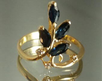 14k Yellow Solid Gold Sapphire and Diamond Handmade Ring Retro Vintage