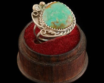 Antique Native Navajo Pawn Sterling Silver Cripple Creek Turquoise Ring Sz 3.25 | Vintage | 5.9 Grams | Marble | Blossom | Old Dead Pawn | M