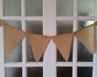 Plain Burlap/Hessian Bunting for Weddings, Birthdays, Celebrations etc DIY decorations or leave as is.