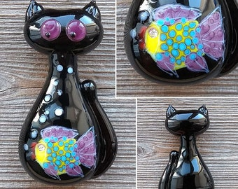 Cat with Fish focal lampwork bead