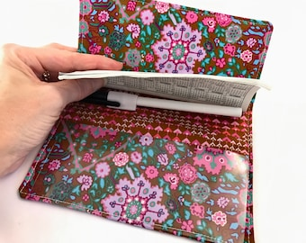 Brown Duplicate Checkbook Cover Register - Duplicate Checkbook Reigster  Fabric Checkbook Cover Pen Holder Amy Butler Inner Vision in Cocoa