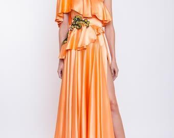 Silk satin maxi dress with handmade embroidery