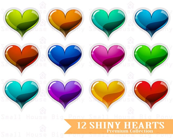 Clipart Hearts Set, Digital hearts, Clip art Hearts, Shiny hearts, clip art, Colorful clip art hearts