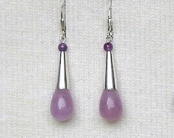 Sterling Silver & Lavender Jade Teardrops Dangle Earrings
